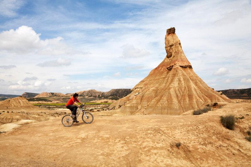 Spanje, Navarra, Bardenas Reales, fietsen in de woestijn