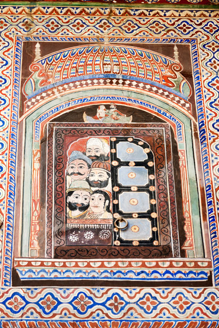 Shekhawati, Rajasthan, India, Nawalgarh museum, fresco