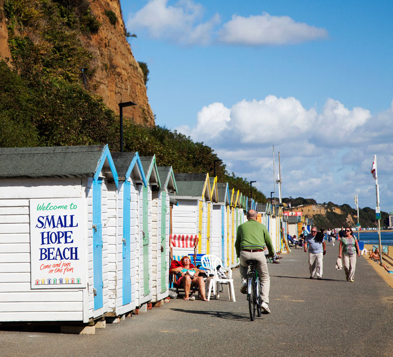Colourful cabins at Small Hope beach, Shanklin, Isle of Wight, cycling holiday