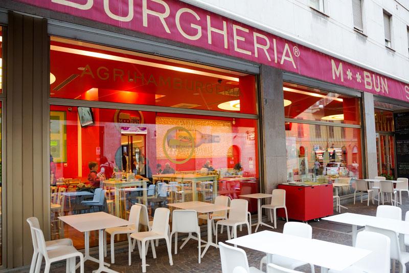 Slowfastfood restaurant M**bun in Turijn, Italie