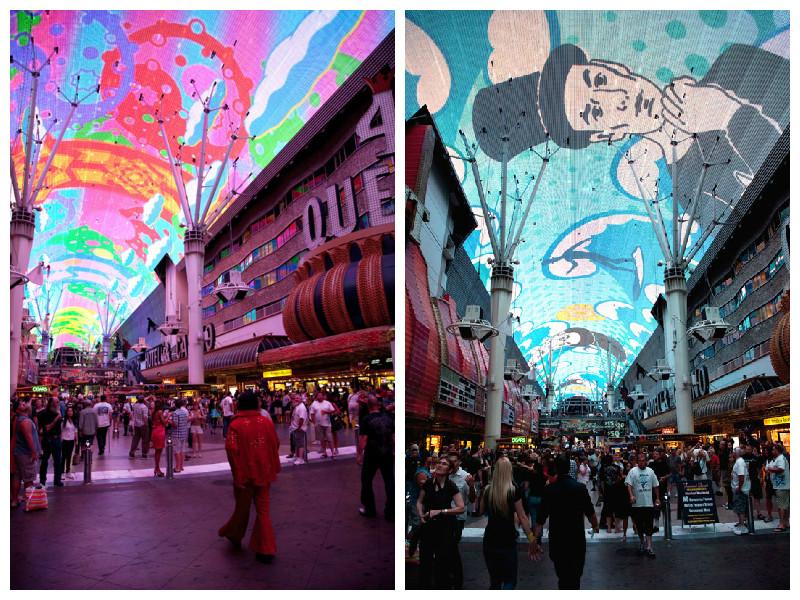 De lichtshow in Fremont Street in Las Vegas, USA