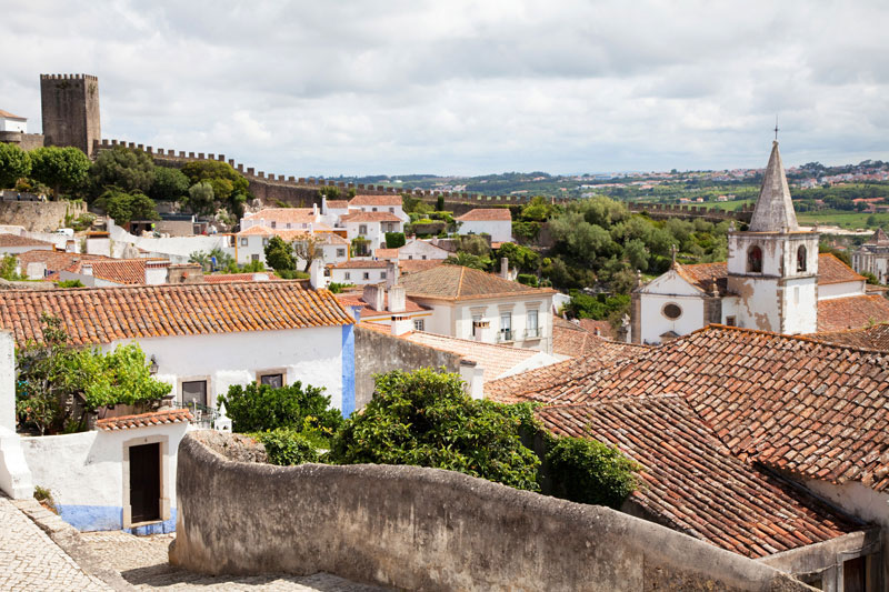 View from the city walls of Obidos, Portugal