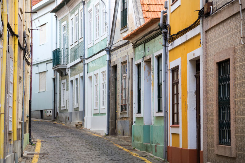 Narrow streets with fishermen's houses in Aveiro, Portugal