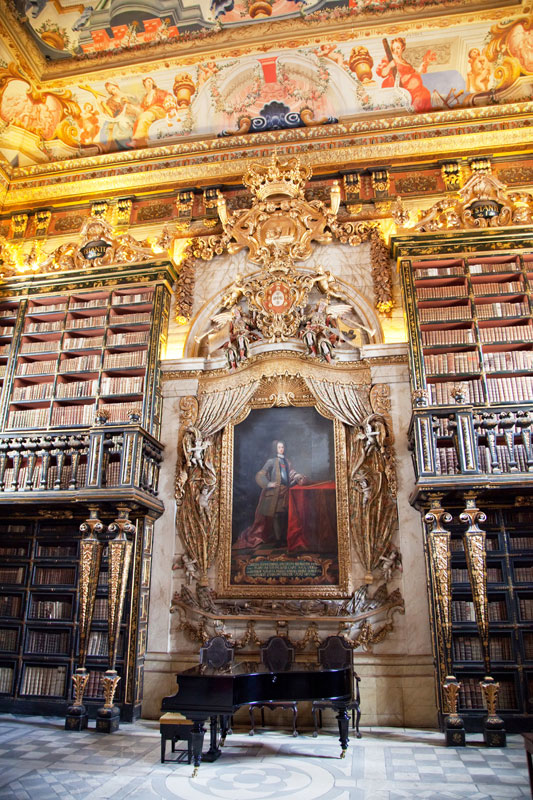 Unique, the richly decorated library of Coimbra, Portugal.