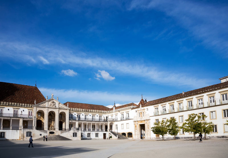The glittering university buildings of Coimbra, Portugal.