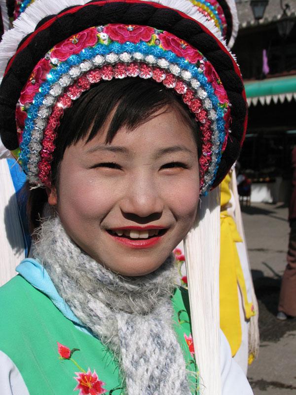 Inwoners van Dali (provincie Yunnan, China) in traditionele Bai-kleding.