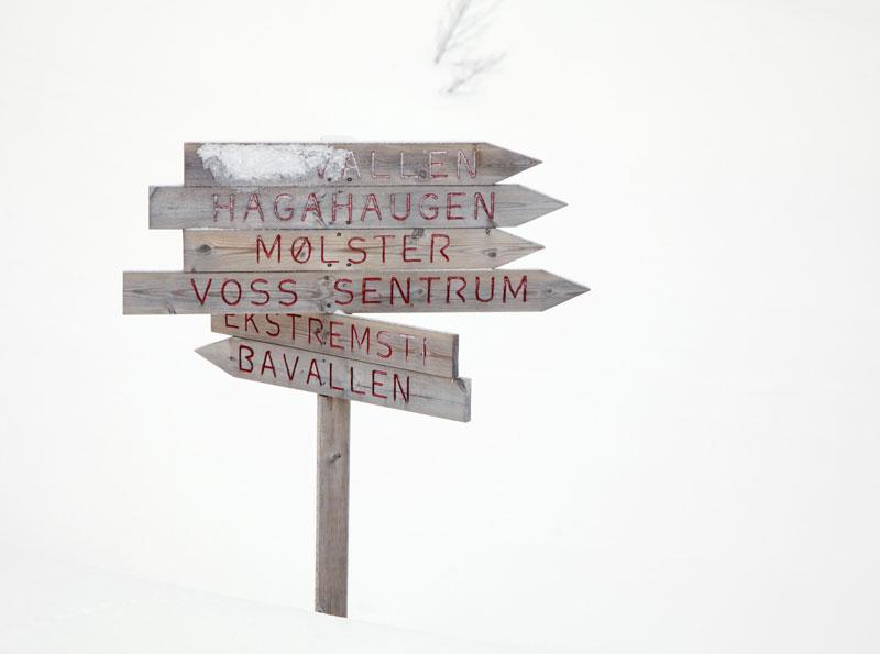 Wintersport in het skigebied van Voss, Noorwegen.