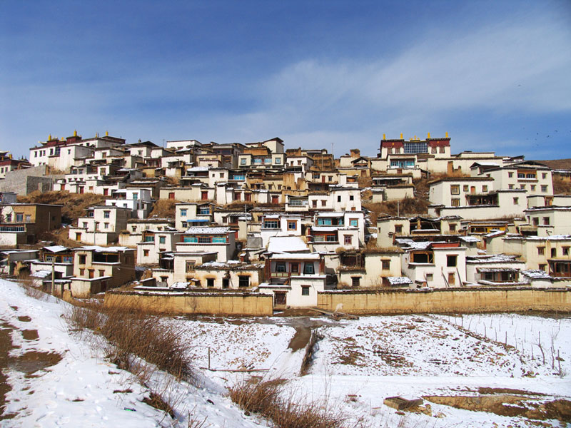 Het Songzanlin klooster nabij Shangri-La in Yunnan, China