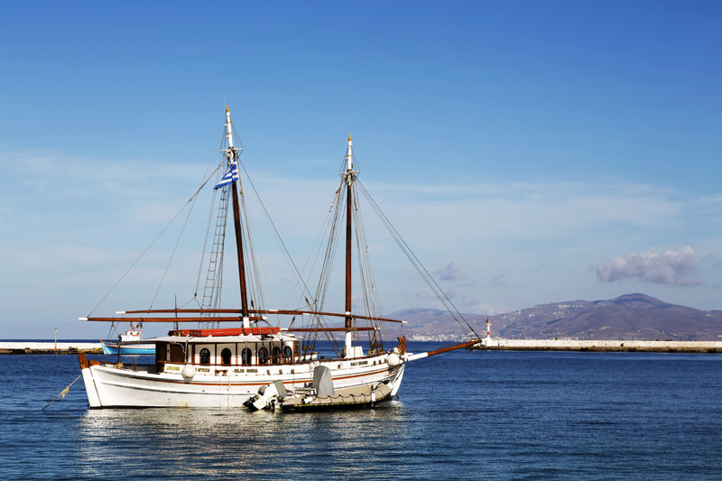De haven van Mykonos