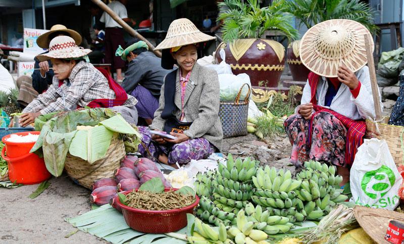 De rondtrekkende markt in Kalaw, Myanmar.