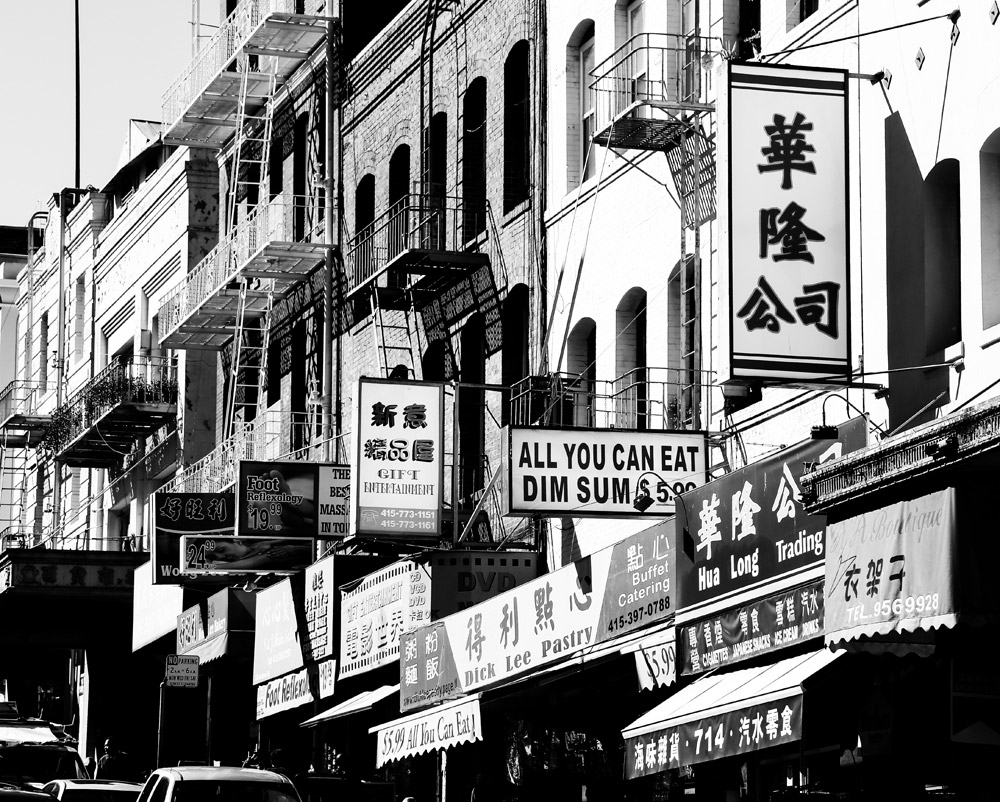 Restaurants en winkels in Chinatown in San Francisco