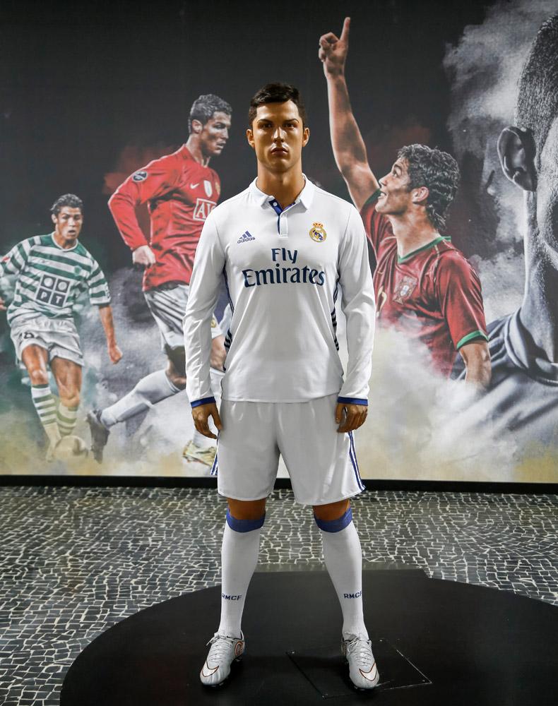 Voetballer Ronaldo in het voetbalmuseum CR7 Vakantie op bloemeneiland Madeira, Portugal