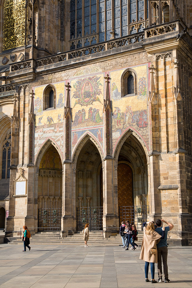 Praag, Tsjechie, Detail van de Sint-Vituskathedraal in de Burcht