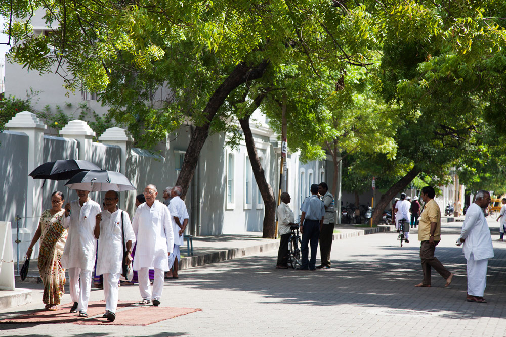 De witte, Franse wijk in Pondicherry, Tamil Nadu, India