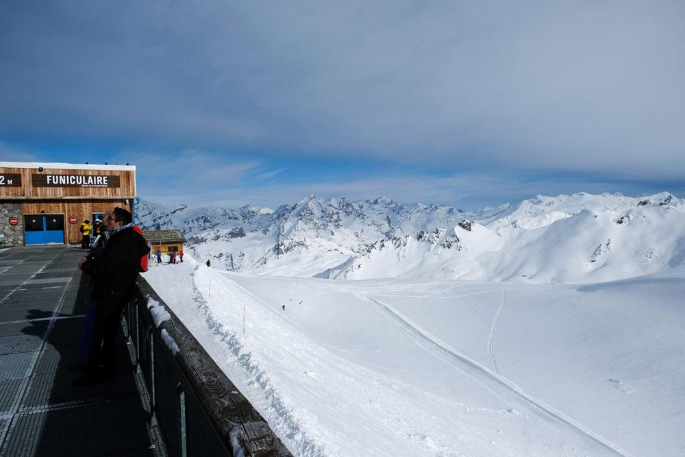 Uitzicht, uitzicht: gletsjer La Grande Motte in Tignes, Tignes - Val dÍsere, wintersport Espace Killy, Frankrijk