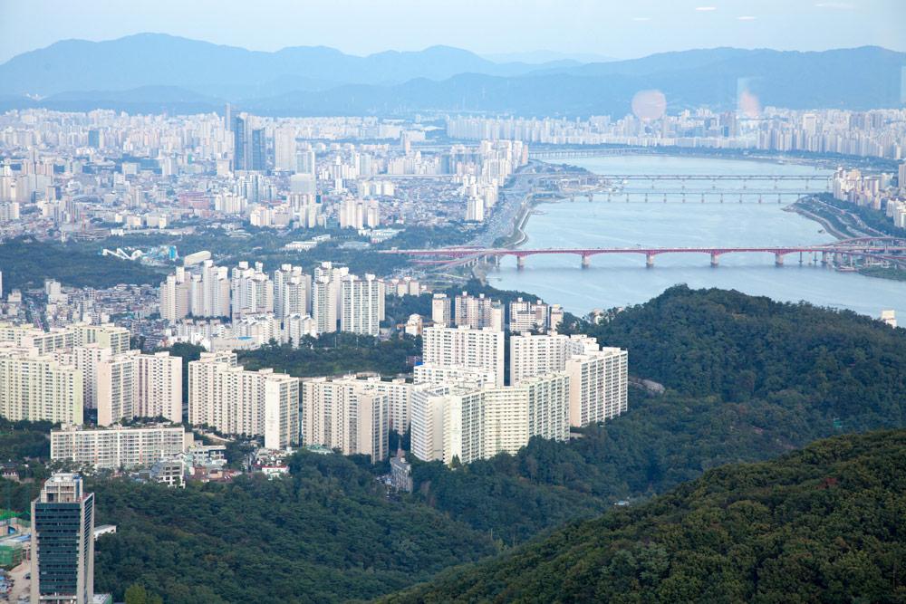 Uitzicht vanaf de N Seoul Tower, Stedentrip Seoul, rondreis Zuid-Korea