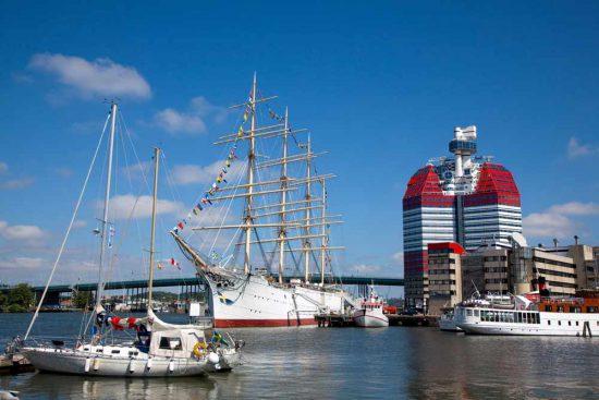 De haven van Goteborg, Zweden. Rondreis zweden, auto, zuid-zweden